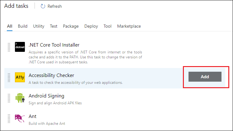 Select the Accessibility Checker task